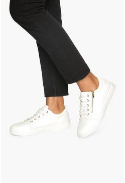 White Wide Fit Zip Side Snake Effect Sneakers