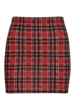 Berry Tartan Check Mini Skirt