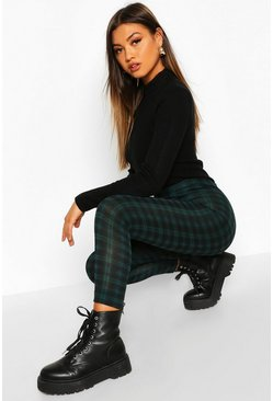 Green Tartan Check Basic Jersey Leggings