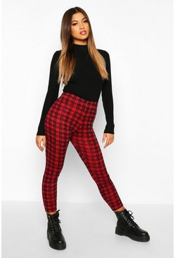 Jersey-Leggings mit Tartanmuster, Rot