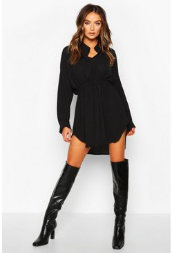 Black Woven Shirred Waist Shirt Dress