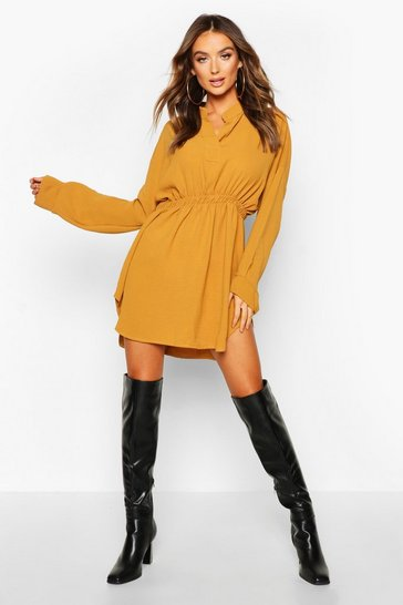 Mustard yellow Woven Shirred Waist Shirt Dress