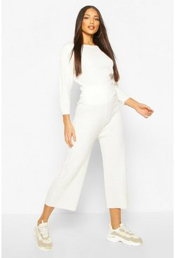 Ivory white Ribbed Knitted Culotte & Top Set
