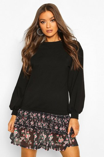 Black Drop Hem Ditsy Floral Layered Sweatshirt Dress