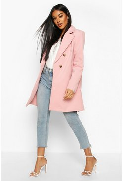 Dusky pink pink Double Breasted Back Detail Wool Look Coat