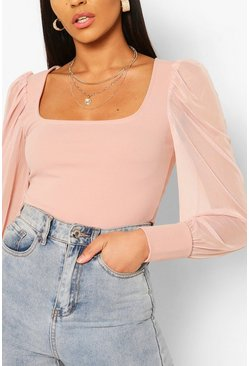 Blush pink Crepe Square Neck Mesh Sleeve Bodysuit