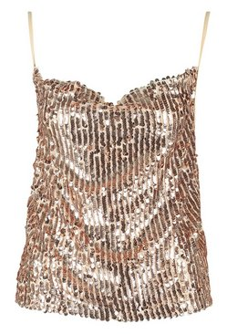 Rose gold Cowl Front Sequin Cami