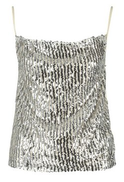 Silver Cowl Front Sequin Cami
