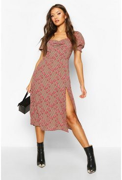 Brown Floral Geo Print Sweetheart Neck Midi Dress