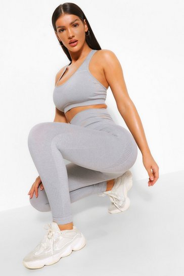 Grey Fit Supportive Waistband Seamless Leggings