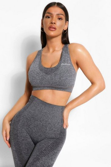 Dark grey grey Grey Fit Removable Padding Seamless Sports Bra