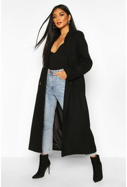 Black Longline Double Breasted Belted Wool Look Coat