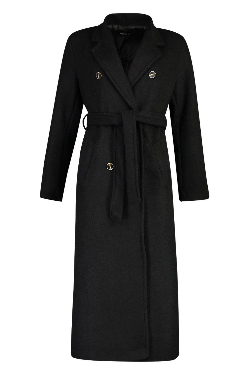Vintage Coats & Jackets | Retro Coats and Jackets Womens Longline Double Breasted Belted Wool Look Coat - Black - 12 $36.00 AT vintagedancer.com