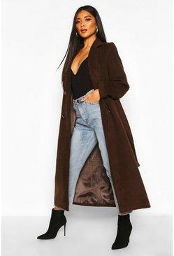 Chocolate brown Longline Double Breasted Belted Wool Look Coat