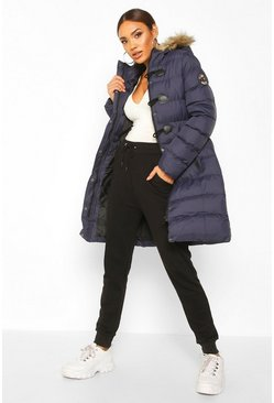 Navy Quilted Faux Fur Hood Parka