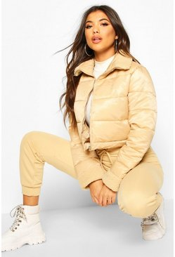 Stone Teddy Faux Fur Panelled Puffer Jacket