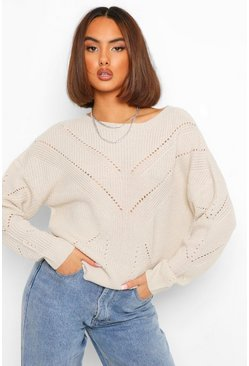 Stone beige Pointelle Knitted Jumper