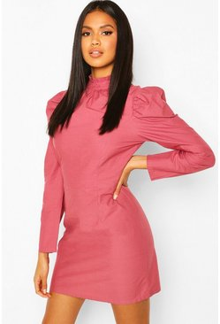 Dusty rose pink Ruffle Neck Puff Sleeve Mini Dress