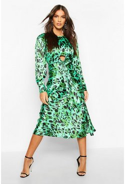 Green Leopard Print Tie Detail Satin Midi Dress