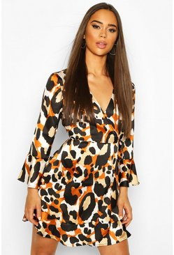 Bronze metallic Leopard Satin Wrap Flared Sleeve Tea Dress