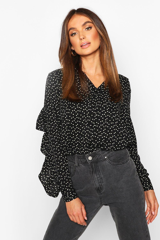 TOPS Black Woven Heart Print Ruffle Detail Shirt