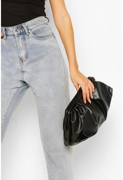 Black Slouchy Oversized PU Clutch & Strap Bag
