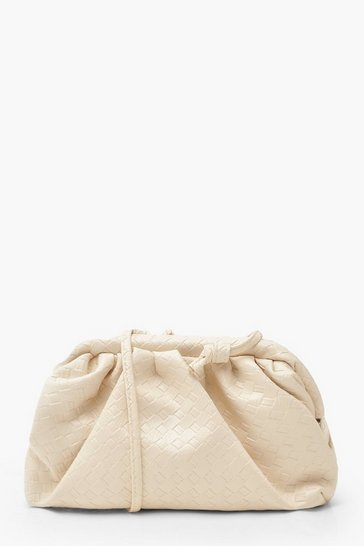 Cream Slouchy Mini Weave Clutch Bag