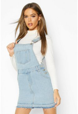 Light blue blue Denim Dungaree Frayed Hem Pinafore Dress