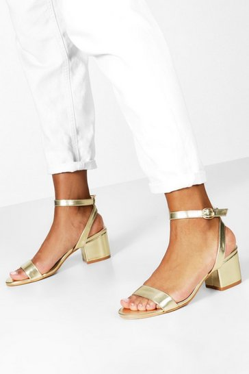 Gold metallic Metallic Basic Low Block Barely There Heels