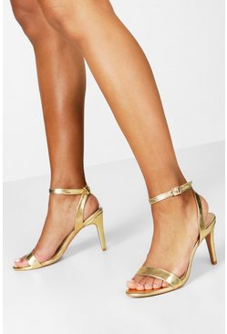Gold Metallic Basic Barely There Heels