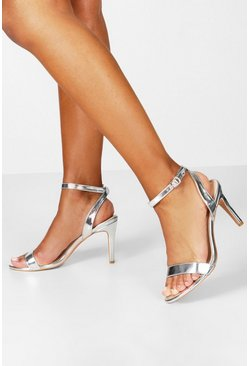 Silver Metallic Basic Barely There Heels