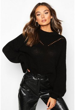 Black Oversized Balloon Sleeve Sweater