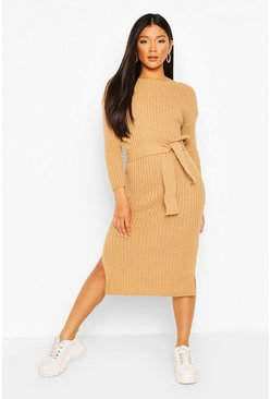 Camel beige Rib Knit Tie Waist Midaxi Dress
