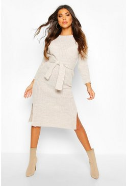 Stone beige Rib Knit Tie Waist Midaxi Dress