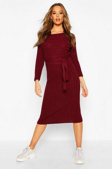 Rib Knitted Midaxi Belted Dress