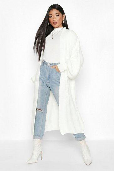 Cream white Oversized Balloon Sleeve Cardigan