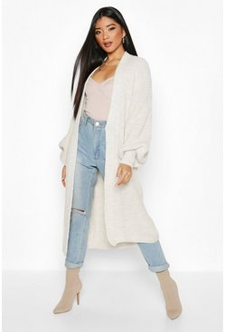 Stone beige Oversized Balloon Sleeve Cardigan