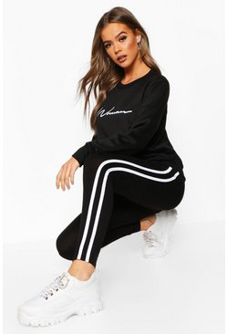 Black Woman Sweater And Legging Tracksuit Set