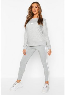 Grey Woman Sweat and Legging Tracksuit Set