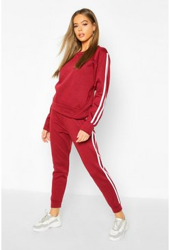 Wine red Fleece Side Stripe Tracksuit Set