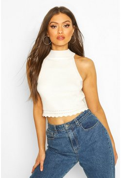 Cream white High Neck Crop Top