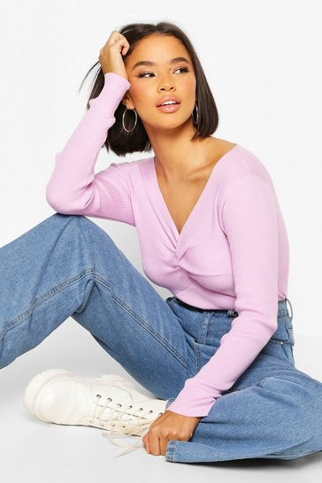 Lilac Twist front Rib Cropped Jumper