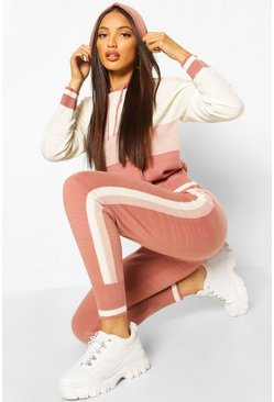 Blush pink Striped Colour Block Hooded Lounge Set