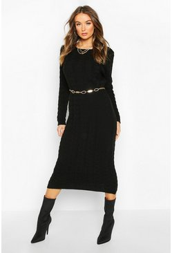 Black Cable Knit Midi Dress