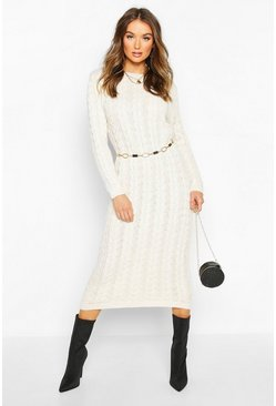 Stone beige Cable Knit Midi Dress