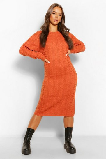 Tobacco brown Cable Knit Midi Dress