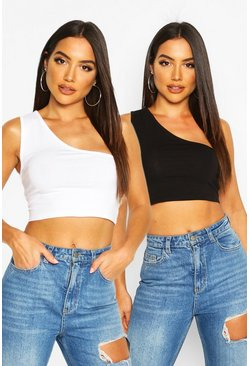 One Shoulder Crop Top 2 pack, Blackwhite negro