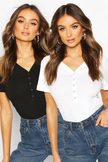 Blackwhite black Black Button Up Cropped T-Shirt 2 Pack