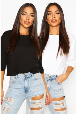 Blackwhite black Boxy Crop T-shirt Two Pack