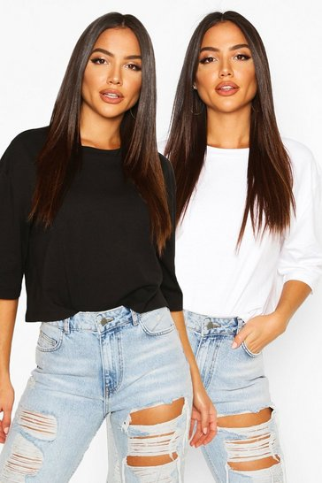 Blackwhite Boxy Crop T-Shirt Two Pack